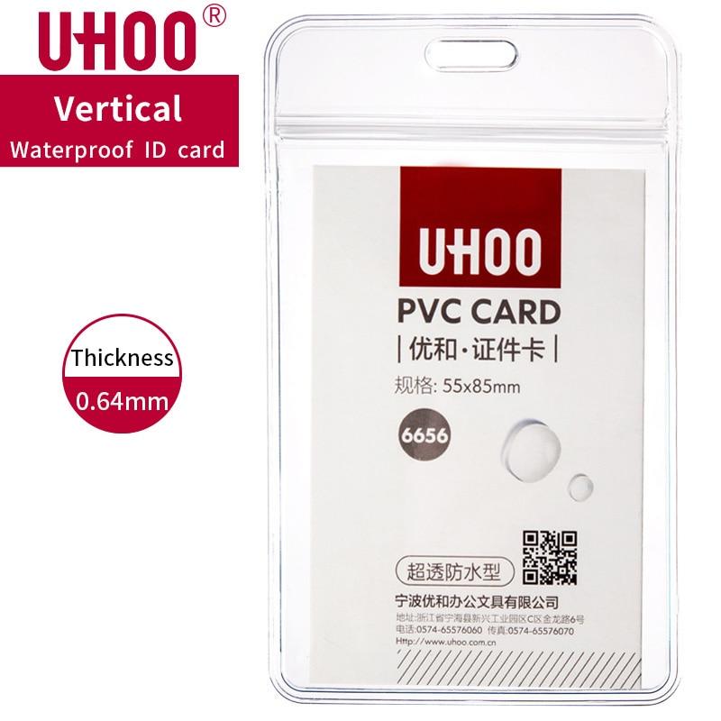 6pcs/lot UHOO 6656 Vertical  PVC Name Tag Waterproof Exhibition Card Name Badge Holder Plastic Card Case