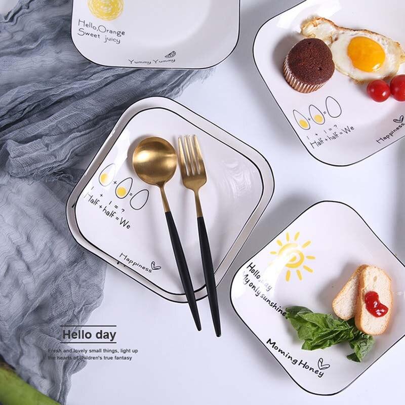 Creative Letter  Porcelain Plates 9 Inch Ceramic Dessert Plate Dinnerware Cake Tableware Dinner Plate Dinnerware Decoration