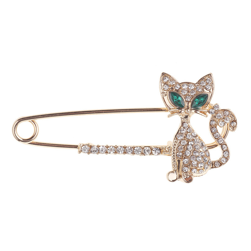 Luxury Cat Pins For Sweater Decoration Full Rhinestone Lovely Brooches Pin For Women Men Christmas Party Jewllery Bijoux LX10334