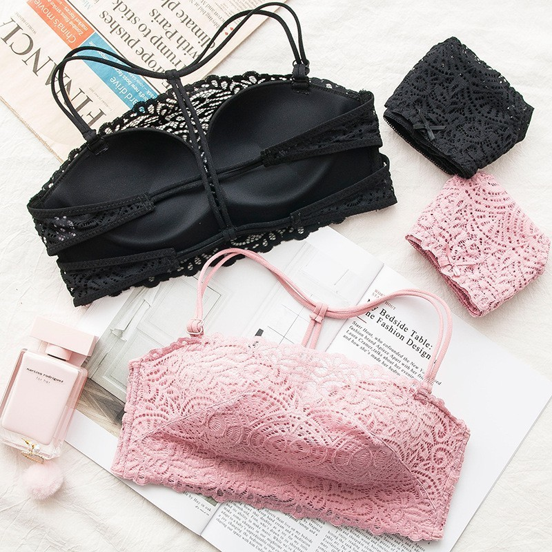 c4328d7750 Roseheart 2018 New Women Fashion Black Pink Sexy Lingerie Wireless Lace  Jacquard Straps Cotton Panties Backless Padded Bra Sets