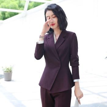 Customized new hot women's suit two-piece suit (jacket + pants) women's single button asymmetric business casual suit
