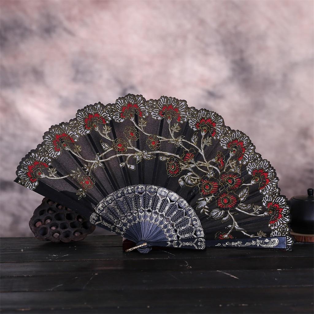 Classic Flower Chinese Fan Beautiful Dance Traditional Embroidery Folding Fans Wedding Party Lace Silk Folding Hand Flower Fan