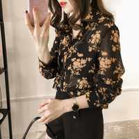 2019 New Workwear Office Button Up Blouse Women Shirt Top Plus Size 4XL Long Sleeve Autumn Floral Blouse Womens Tops and Blouses