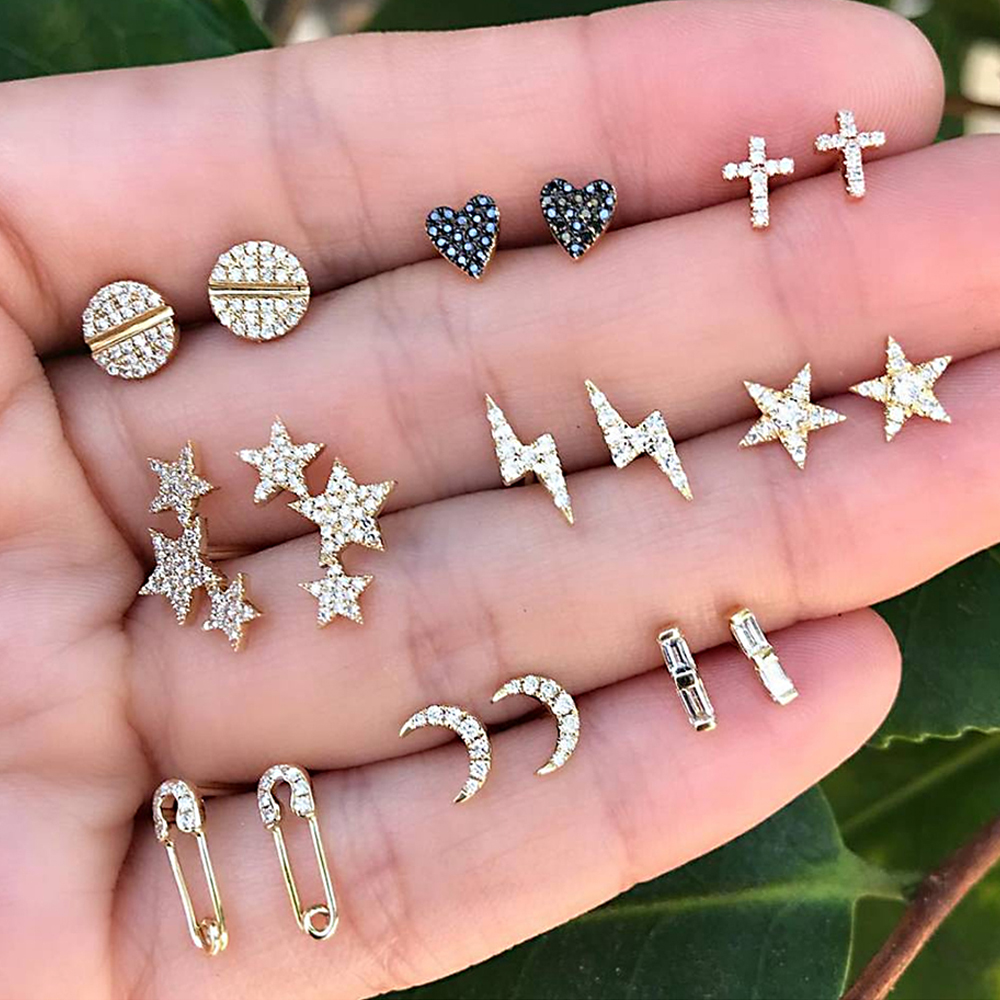 18 Teile/satz Frauen Mode Sterne Mond Kreuz Kristall Herz Gold Stud Ohrringe Set Punk Temperament Schmuck Zubehör