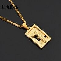 CARA NOUVEAU 316L en acier inoxydable Or couleur Solide Jésus tablette carrée collier charme Christian bijoux religieux collier CAGF0317