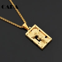 CARA NEW 316L Stainless Steel Gold Color Solid Jesus Square Tablet Necklace Charm Christian Religious Jewelry