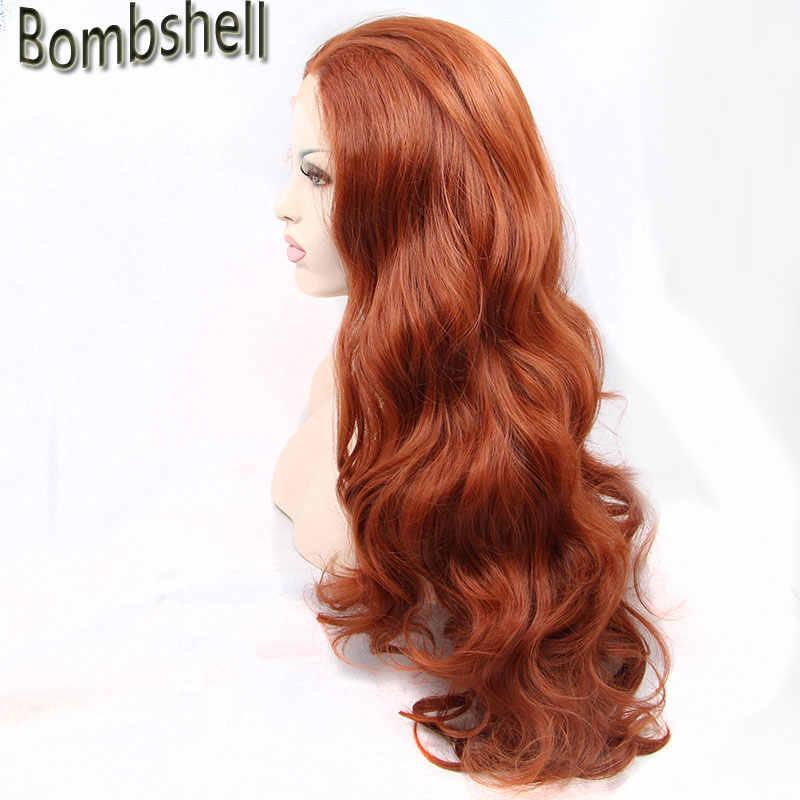 Bombshell красота высокотемпературное волокно Perruque оранжевые парики длинные волнистые Cooper красные синтетические волосы на фронте парик для Drag queen