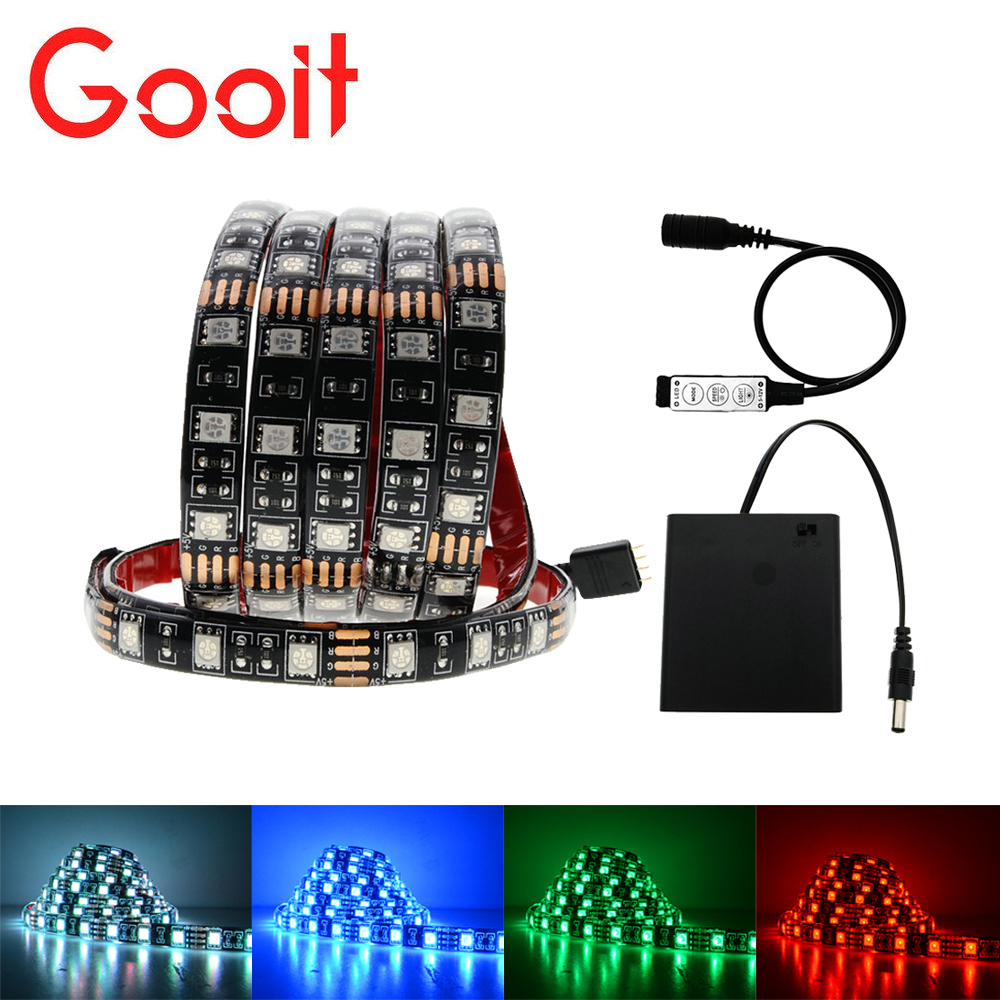 5050 battery LED Strip lights RGB Black PCB IP20 / IP65 Waterproof Decorative Light lamps with RGB contrllor
