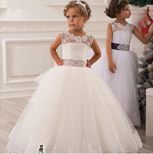 Hot real image ivory white lace flower girls dresses 2017 ball gown belt floor length girls