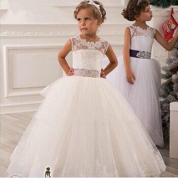 Hot real image ivory white lace flower girls dresses 2017 ball gown belt floor length girls.jpg 350x350