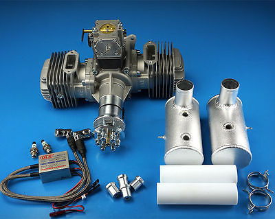DLE170cc Twin Gasoline Engine W/Electronic Igniton &Muffler For RC Plane Newest dle40 dle engine 40cc twin gasoline w electronic ignition dle 40 for rc plane us stock