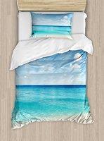 Океан постельное белье тропический Карибского моря берег песчаный пляж синий спокойно спокойной мирных вод 4 шт. Постельное белье