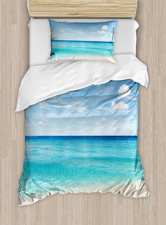 Océan Housse de Couette Ensemble Tropical Caraïbes bord de Mer Plage De Sable Bleu Calme Calme et familial Eaux 4 Pièce Ensemble de Literie