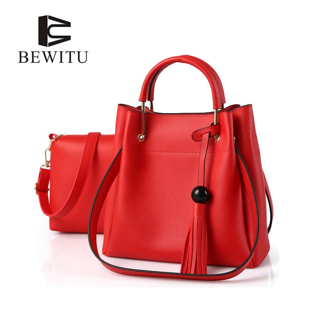 BEWITU Women 2 pcs set Handbags Female Tote Bag Tassel Women Solid Women Messenger Bag PU Leather Composite Bag цена и фото