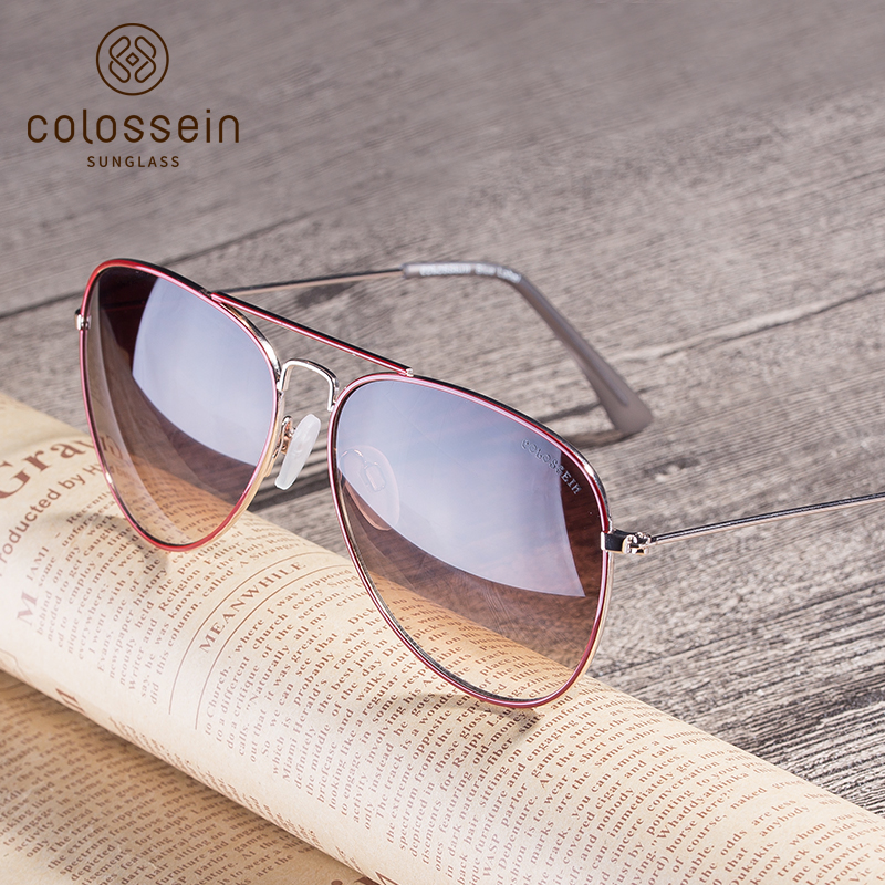 COLOSSEIN Pilot Sunglasses for Unisex Coating UV400 Glasses Light Metal Eyewear Sunglasses Women Gradient Lens Goggles