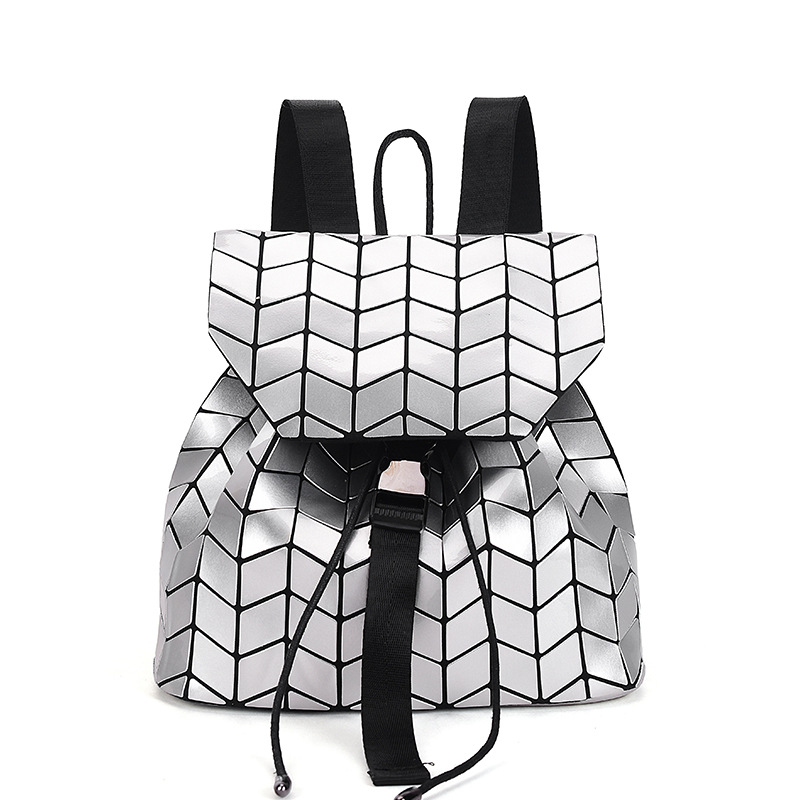 Women Backpack Geometric Plaid Sequin Female Backpacks For Teenage Girls Bagpack Holographic Drawstring School Bag