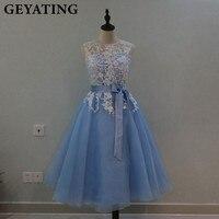 Vintage Tea Length Lace Bridesmaid Dress Appliques Scoop Neck Lavender Bride Maid Dresses Blue Pink Organza