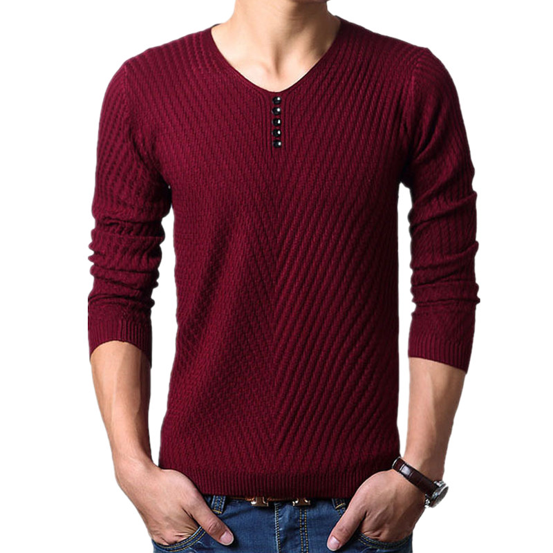 2017 New Winter Henley Neck Sweater Men Cashmere Pullover ...