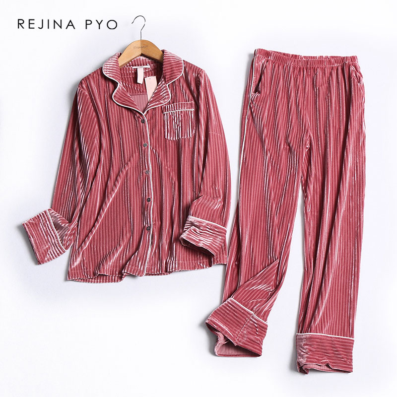 REJINAPYO Women Vertical Solid Striped Velour Single Breasted Underwear Female Casual Warm   Pajama     Sets   Classic Sleeping   Sets
