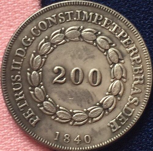 1840 Бразилия 200 Reis Монеты Скопируйте Бесплатная доставка