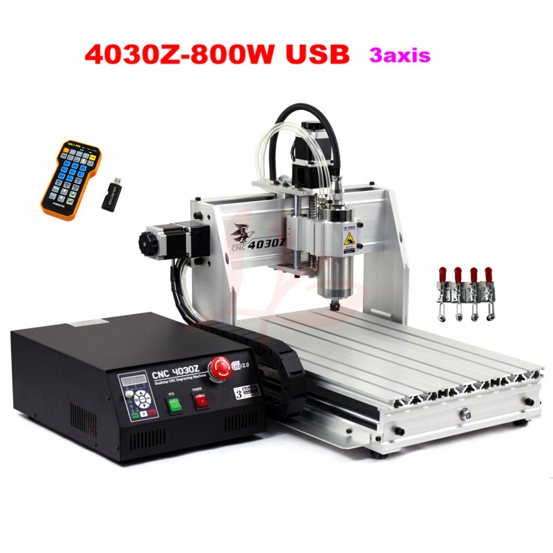 CNC wood engraving machine 4030Z-800W USB 3 axis CNC drilling machine with mach3 remote control support USB2.0 cnc machine 4030 z 800w usb 3axis cnc router engraver for aluminum wood pcb drilling and milling