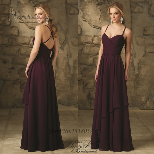 Long Gowns For Wedding Guests: Sexy Purple Bridesmaid Dresses Straps Backless Vestido De