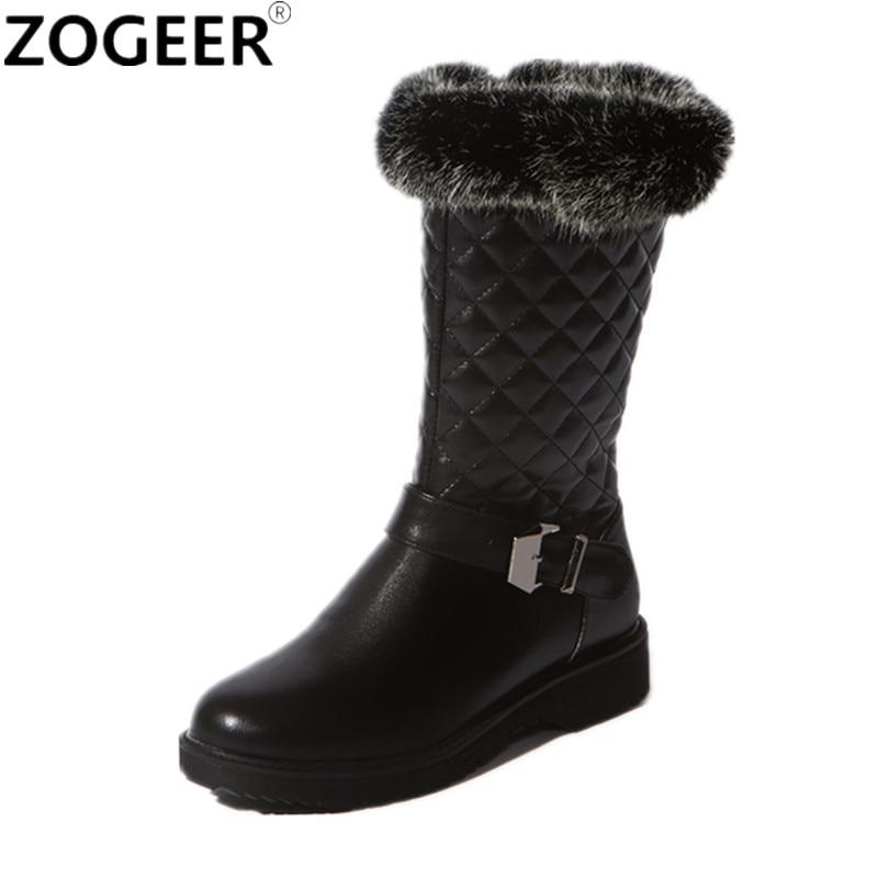 Brand Fashion Female Warm Fur Boots Casual Low Heels Plush Women Snow Boots Autumn Winter Water