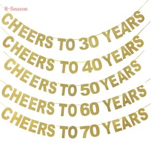 8-Season Happy Birthday Party Banners Cheers To 20 30 40 50 60 70 Years Gold Glittery Banner Celebration Hanging DIY Decoration