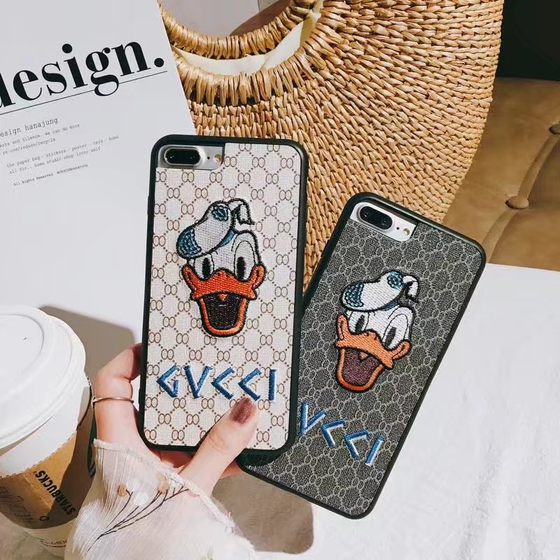 Luxury Phone Case For Apple iPhone 7 8 X 6 6s Plus 7 Plus 8 Plus Embroidered Case Cute Donald Daisy Duck Cartoon Cover Fundas Ca ...