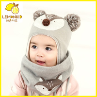 knitted baby character acrylic boys girls unisex winter warmer earflaps 6 Month 1 2 3 years neckerchief scarf kids winter hat