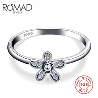 ROMAD Luxury 925 Sterling Silver Jewelry Flower Finger Ring Double Heart Sterling Ring Engagement Wedding Party