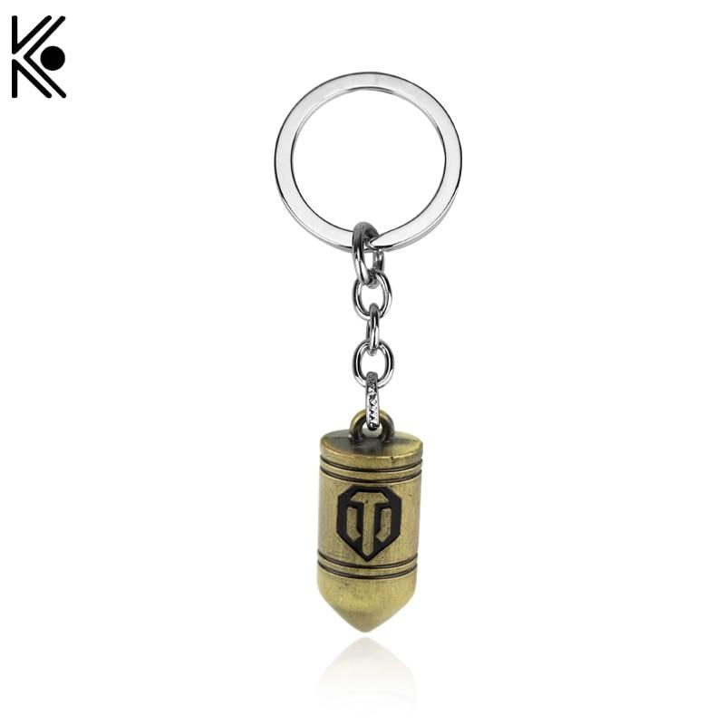 Russian Wot Game World of Tanks Bullet KeyChain Pokemon Go Keychain Poke Ball Alphabet Key Ring 4cm pendent key holder for car