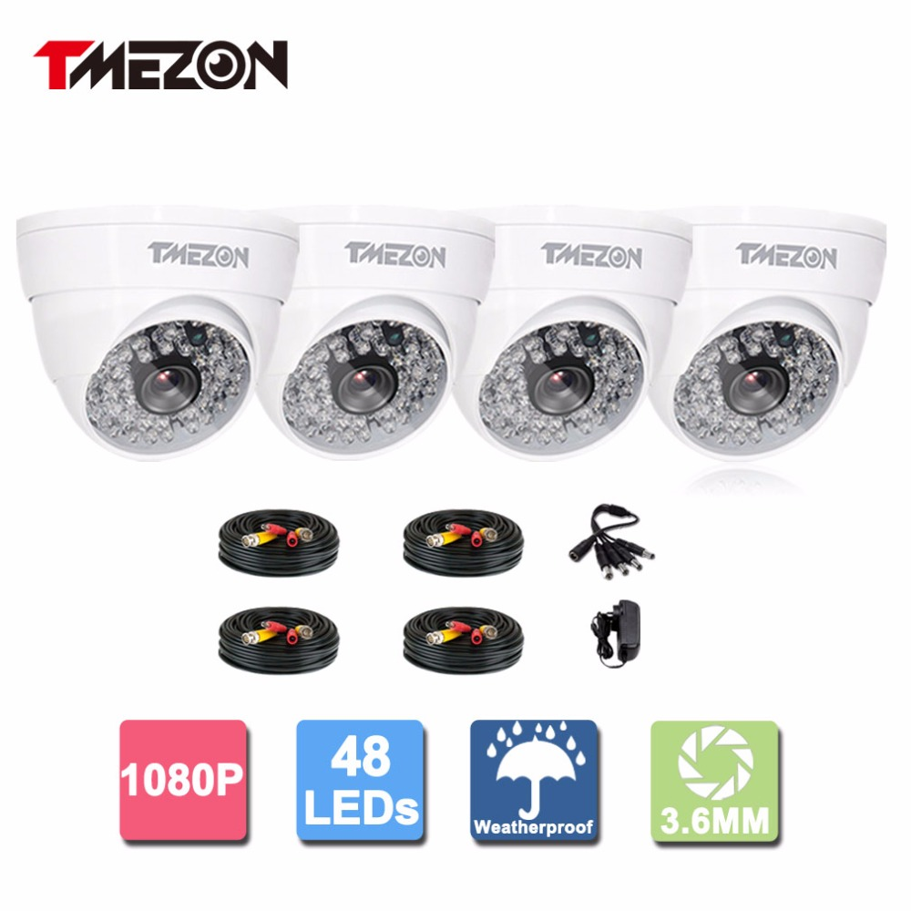 Tmezon 4 Pack AHD Dome White 1080P 2.0 MP High Definition Surveillance Security Camera HD 48 IR Leds Night Vision Up to 120ft 4 in 1 ir high speed dome camera ahd tvi cvi cvbs 1080p output ir night vision 150m ptz dome camera with wiper