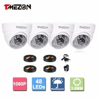 Tmezon AHD CCTV White Camera 4 Pack 1080P 1 3 MP High Definition Security Dome Camera