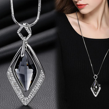 Black Diamond Pendant Silver Necklace