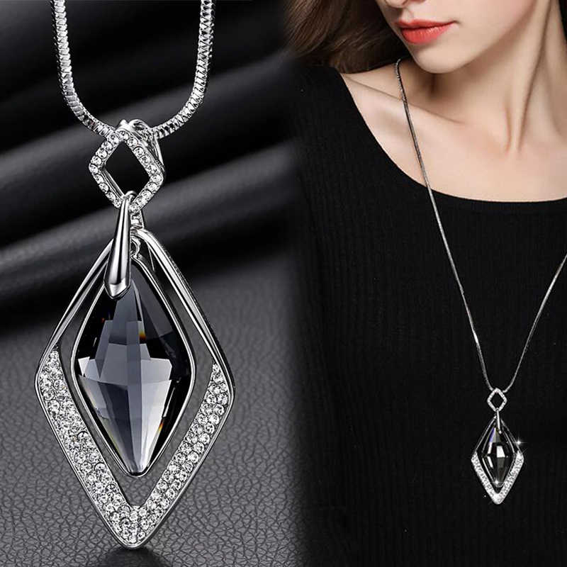 Meyfflin Long Necklaces & Pendants for Women Collier Femme Geometric Statement Colar Maxi Fashion Crystal Jewelry Bijoux 2019