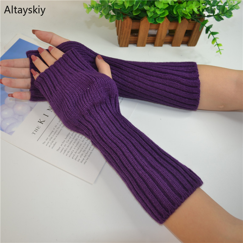 Arm Warmers Women Lengthen Crochet Knitting Solid Womens Simple Warm Comfortable Mittens Sleeve Set Leisure Chic High Quality