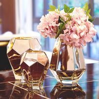 Exquisite royal style golden glass decorative vase Beautiful small fresh home art Mirror face glass vase