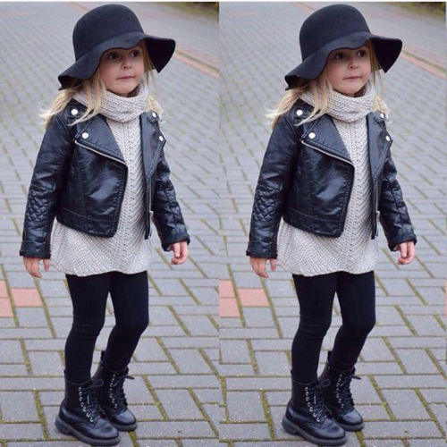 Outerwear & Coats Responsible Fashion Toddler Kids Girl Clothes Motorcycle Pu Leather Jacket Biker Coat Overcoat Black Winter Autumn Long Sleeve Outwear 3-13y Products Are Sold Without Limitations Jackets & Coats