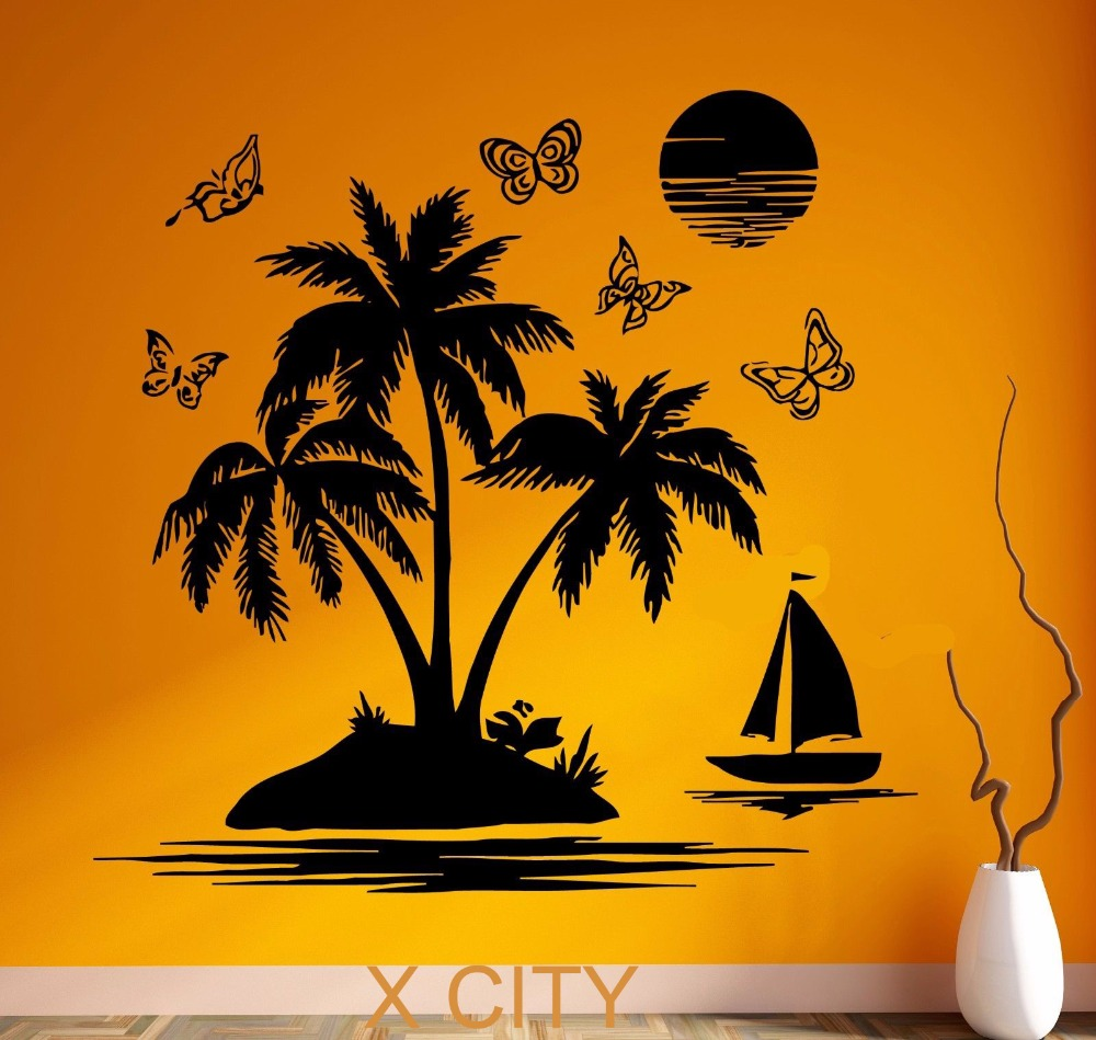 Tropical Scenery Palm Beach Island Black Wall Art Decal Sticker Removable Vinyl Transfer Stencil Mural Home Room Decor