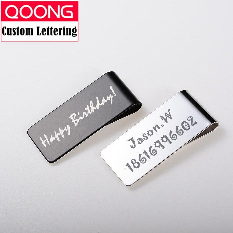 QOONG Custom Lettering Stainless Steel Men Women Money Clip Wallet Metal Credit Card Holder Bill Clamp QZ40-004