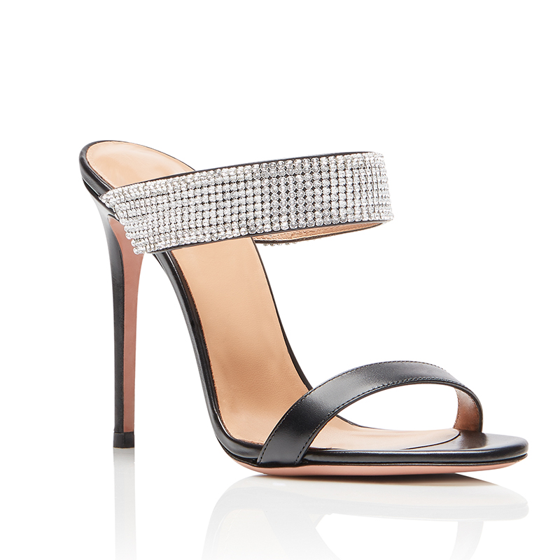 Crystal Black High Heel Mules Women Clear Nude Heels Transparent PVC Rhinestones Heeled Wedding Party Shoes Ladies Summer Shoes in High Heels from Shoes