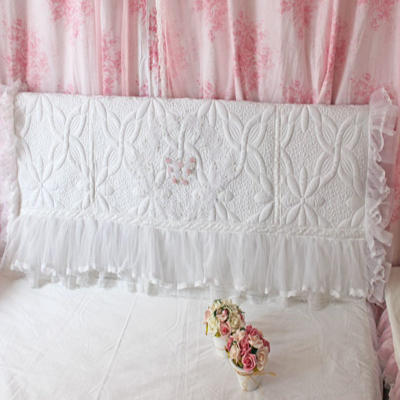 white elegant bed headboard cover wedding decorative bow lace ruffle skirt cushion cover princess bedhead board towel bed clothe