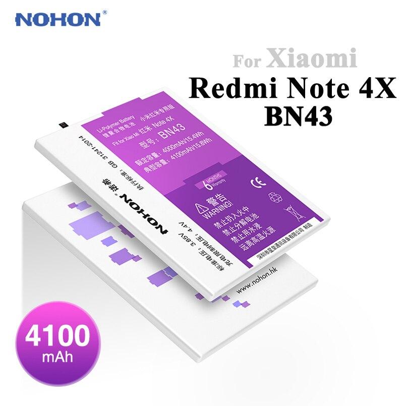 Nouveau NOHON 4100 mAh Batterie Pour XiaoMi RedMi Note 4X BN43 HongMi Note4X 3.85 V Haute Capacité Remplacement Bateria Avec paquet + Outils