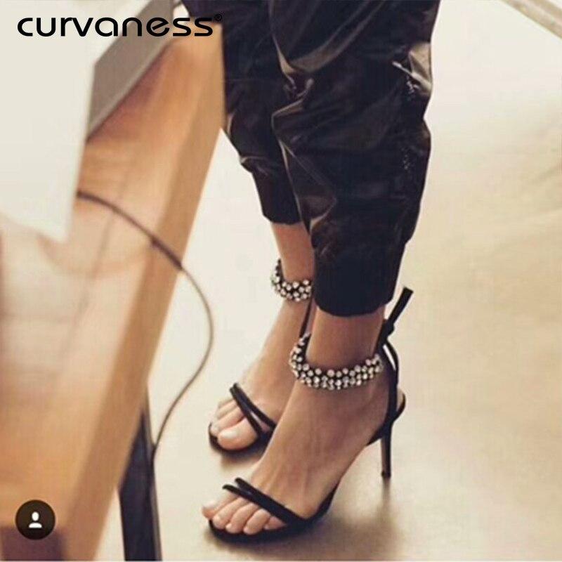 Noir Bling Robe Des Sandales Curvaness Talons Femme Sexy 2018 D'été Mariage Chaussures De Strass Soirée Lacent Cheville Wrap Femmes wwBUq0
