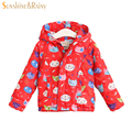 Cartoon Kitten Printing Girls Warm Winter Jacket Thicker Coats For Baby Girl Windproof & Waterproof Hooded Children's Outerwear