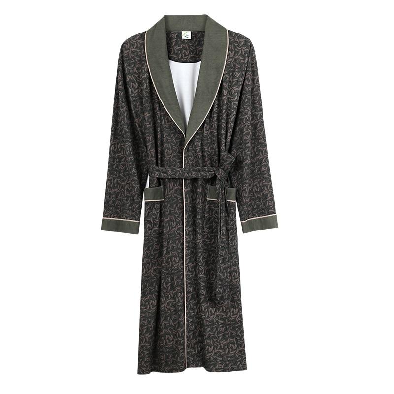 Bath Robe New Arrival Man s Luxury Spring Autumn 100 Cotton Long Bathrobe Pijamas Hombre Sleepwear