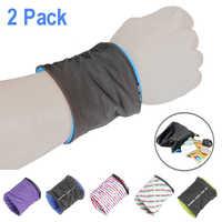 2Pcs Reflective Zipper pocket wrist wallet Pouch Bag Running Cycling Wrist Wallet Pocket Sport Wristband Keys Coin Storage Bag