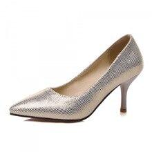 ปั๊มPUใหม่33 40 41 42 43 44รองเท้าผู้หญิงส้นสูง7เซนติเมตรบางส้นขนาดEUR 32-45ดี