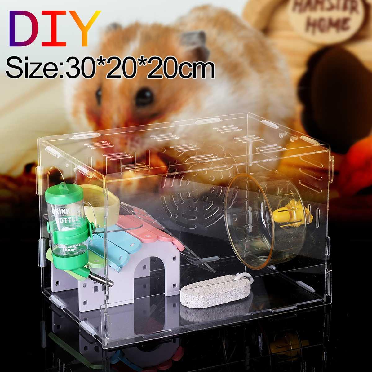 30x20x20cm Transparent DIY Hamster Cage font b Pet b font Cage Acrylic Single Layer Traveling Portable